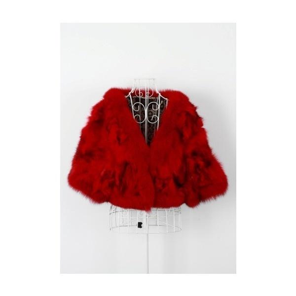 Купить 3/4 Свободные рукава Fox Fur нарамник Redwith низкой цене |... via Polyvore