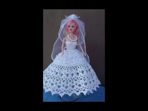 Одежда для куклы крючком.  Платье свадебное- бальное. 1часть - YouTube