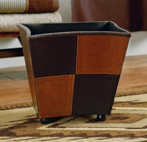 "Southwest Waste Basket Trash Can By Collections Etc by Mallory Lane. $14.97. 11 1/2""L x 7 3/4"" x 9 3/4""H. Faux leather gives this trash can a rustic yet rich look. Wood/plastic. Light and dark brown tones compliment a southwestern theme. Faux leather gives this rectangular-shaped trash can a rustic yet rich look. Light and dark brown tones compliment your southwestern theme. 11 1/2""L x 7 3/4""W x 9 3/4""H. Wood/plastic.. Save 25%!"