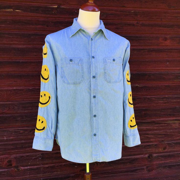 Kapital Smiley Chambray Shirt. (made in japan, kountry, blue hands, denim)