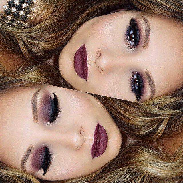 maquillaje en tono vino
