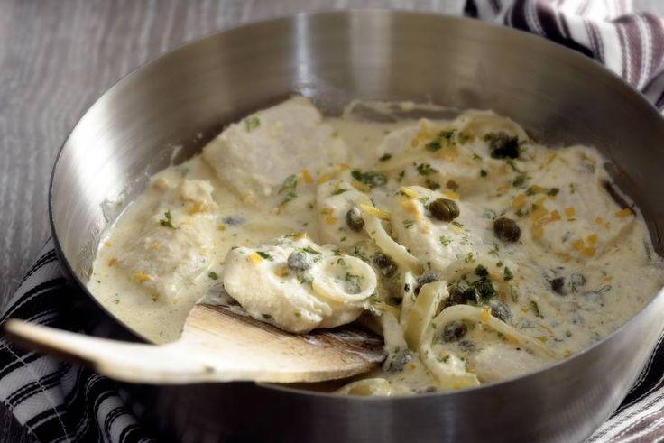 Kijk wat een lekker recept ik heb gevonden op Allerhande! Vis met kappertjes en crème fraîche