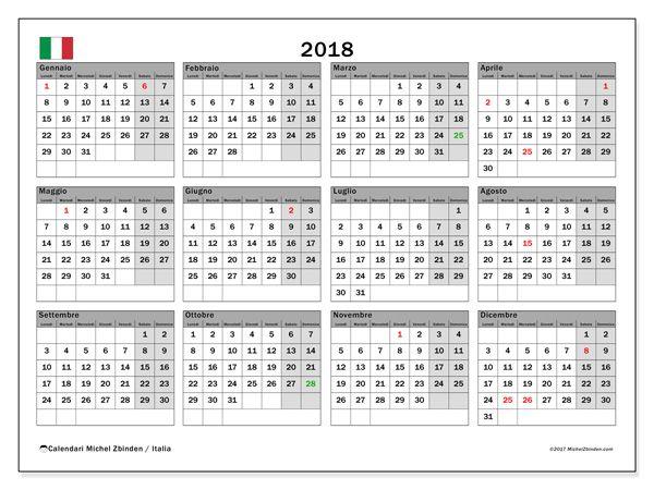Calendario per stampare  2018 - Giorni festivi in Italia