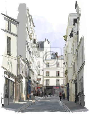 Choose a wall mural  paris, vector, walking - street near montmartre in paris. PIXERS wall murals made of great fabrics. Choose artistic photos from our catalog.