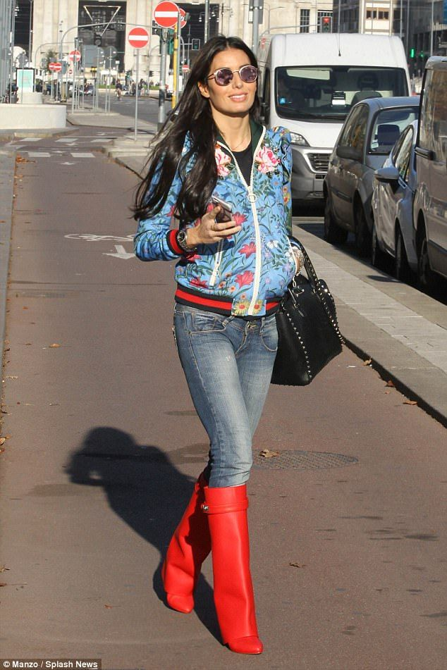 Boots for walking: Elisabetta Gregorac looked stunning in a pair of red hot boots-Flavio Briatore's girlfriend