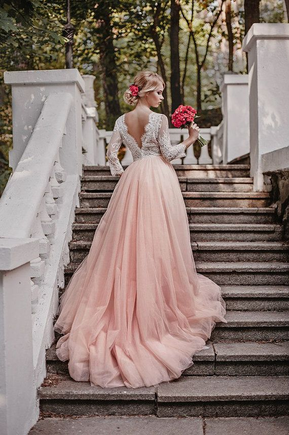 Pink wedding dress, tulle wedding dress, long sleeves wedding gown, wedding…