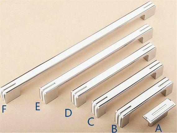 3.78 5 6.3 7.55 8.8 Modern Simple White Dresser Drawer Pulls Knob Kitchen Door Cabinet Black Modern Handle 96 128 160 192 224 mm
