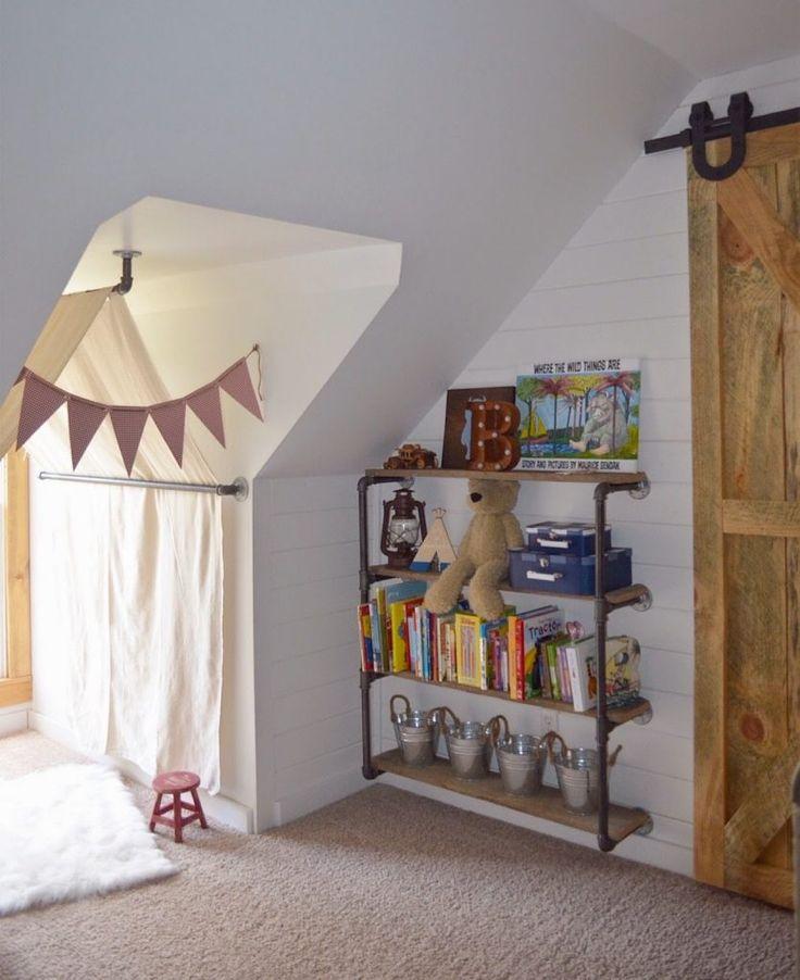 Farmhouse boys bedroom - bookcase style inside kids room door