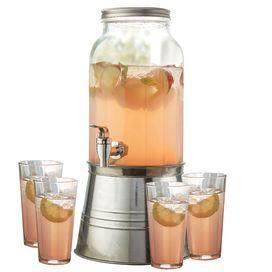 I have this dispenser and love it!Backyards Soiree, Dispenser Sets, Beverages Dispenser, Jars Design, Cups Sets, Beverages Dispeners, Servings Guest, Newport Beverages, 5 Piece Newport