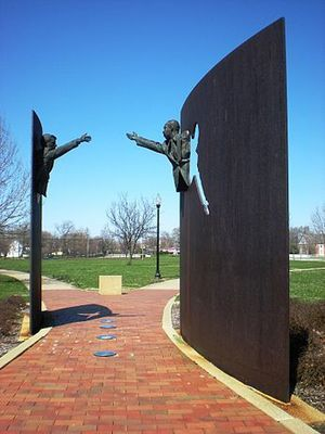 The Landmark for Peace Memorial is a memorial sculpture at Dr. Martin Luther King, Jr. Park on the northside of Indianapolis that honors the contributions of the slain leaders Dr. Martin Luther King, Jr. and Robert F. Kennedy. The sculpture, which features King and Kennedy reaching out to each other was designed by Greg Perry.