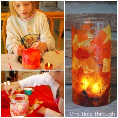 Fiery Tissue Paper Lantern craft for emergency services week can double as mothers day craft
