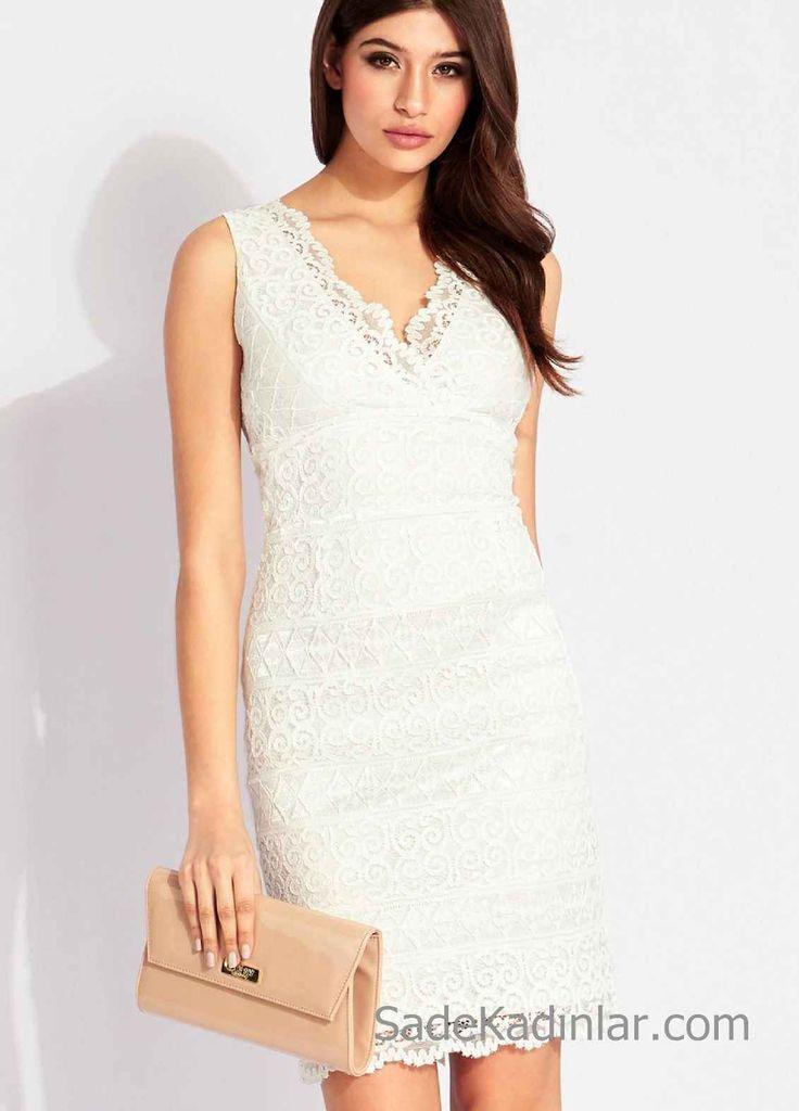 Beyaz Elbiseler V Yaka Vücudu Saran Kısa Dantel Elbise