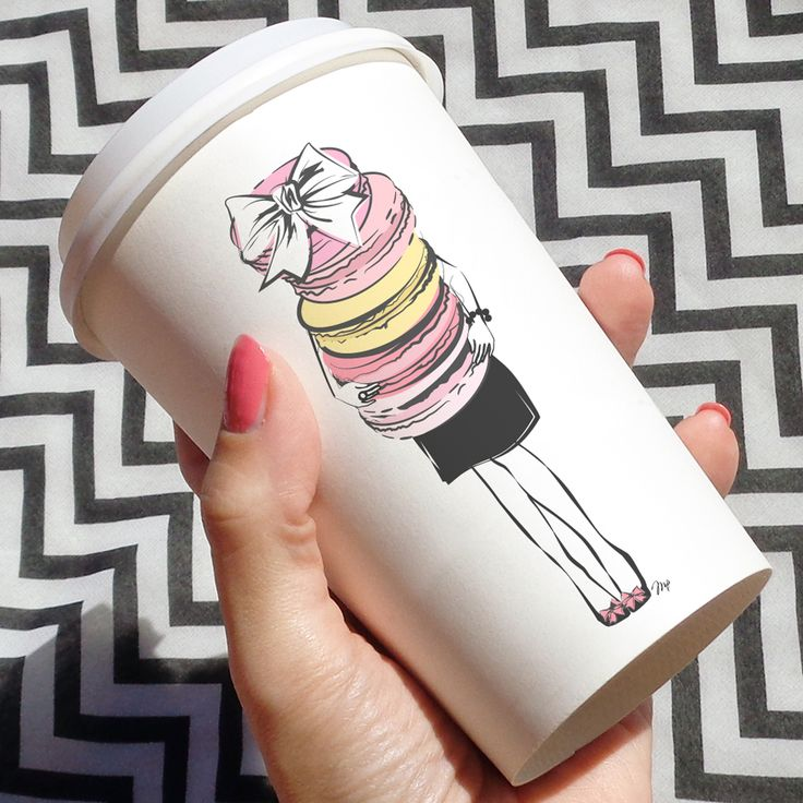 stylish cup of coffee yummy macarons illustration