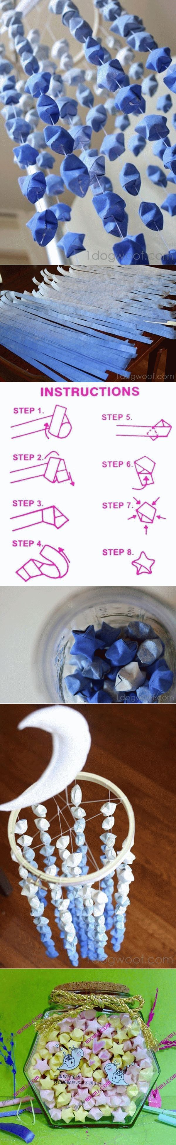 DIY Paper Folded Star Mobile