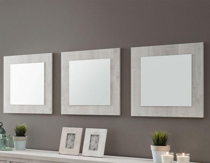 Miroir carré contemporain couleur chêne blanc CAMARGUE