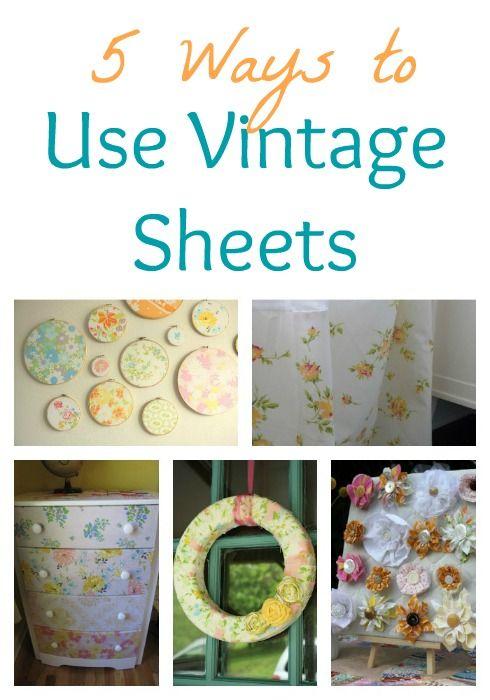 5 Ways to Use Vintage SheetsDecor Ideas, Crafts Ideas, Crafty Tutorials, Vintage Sheet Recycle, Vintage Crafts, Beds Sheet, Vintage Sheets, Cotton Sheet, Recycle Vintage Sheet
