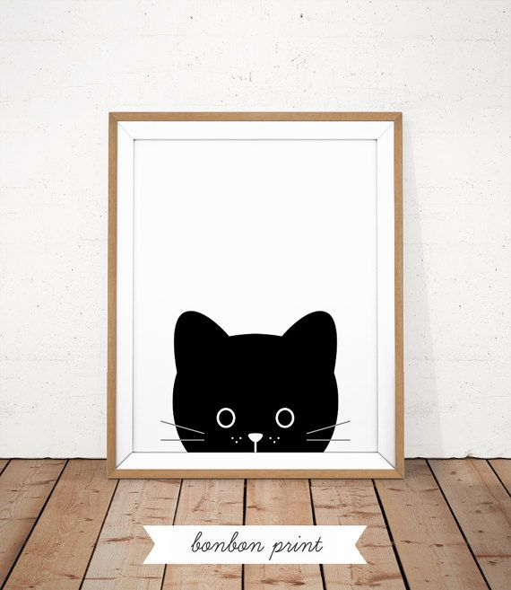 Kwekerij kat Print Baby kat afdrukbare Black Kitty