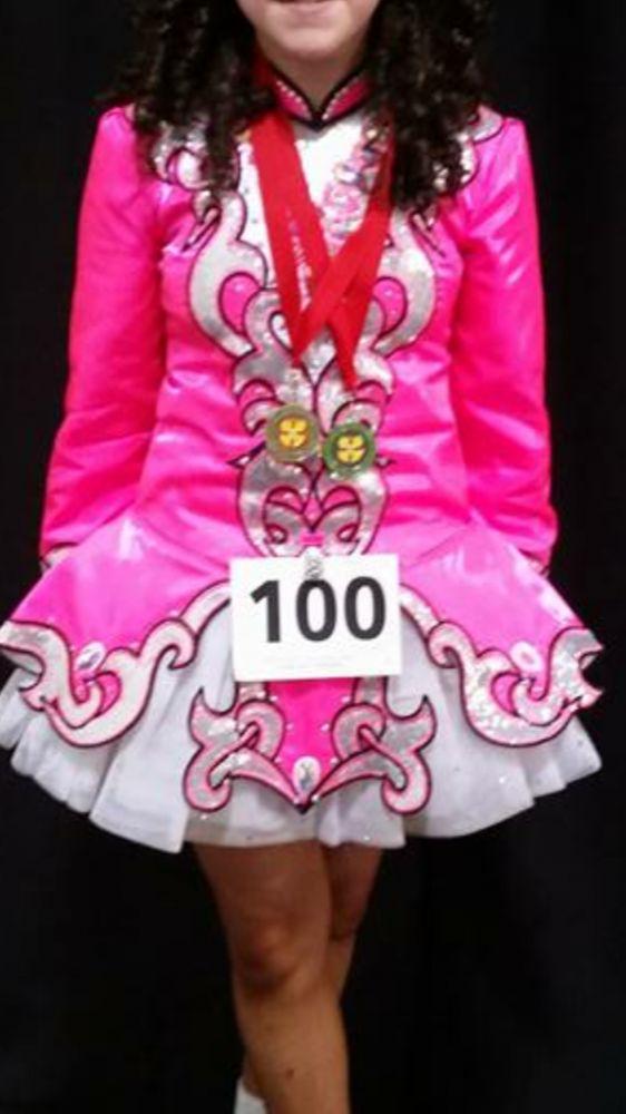 Elegant Pink Devlin Designs Irish Dance Dress Solo Costume For Sale