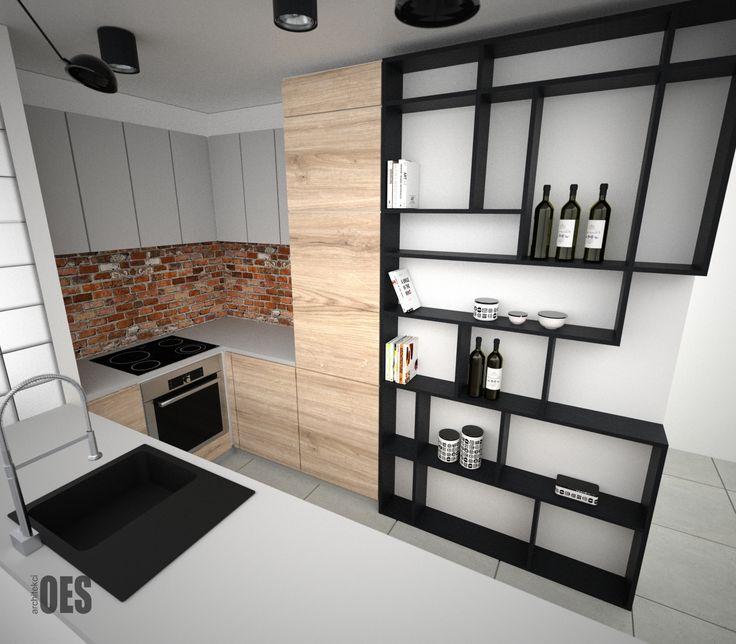 #małakuchnia #drewnowkuchni nowoczesna kuchnia z cegłą, jasna kuchnia, czarne półki