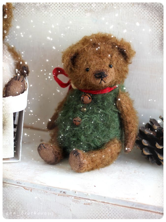 """do you have christmas mood yet? I have))) Small """"bear in hand""""  will bring it to you:) only 5,5 inch made of of mohair stuffed sawdust and mineral granulate  price for one bear on first photo  FREE SHIPPING by airmail for tiny bears till New year! please look in my gallery on small tiny bears thank you)"""