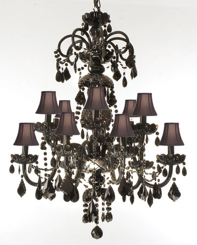 Authentic All Crystal Chandelier Jet Black Crystal with Black Shades | eBay