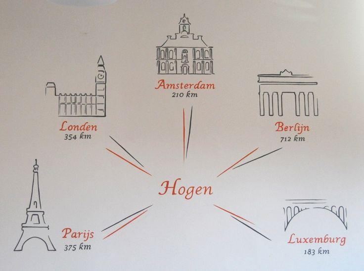 Decoratieve muurschildering in parochiezaal te Hogen van afstanden omliggende hoofdsteden on Lizart  https://lizart.be/wp-content/uploads/decorative_murals/muurschildering-parochiezaal-hogen-steden.jpg