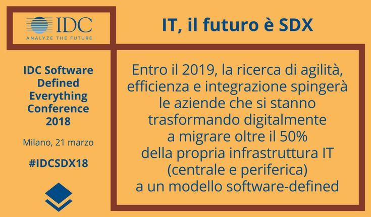 Entro il 2019, l'esigenza di maggiore agilità, efficienza e integrazione spingerà le aziende che si stanno trasformando digitalmente a migrare oltre il 50% della propria infrastruttura IT (centrale e periferica) a un modello software-defined, prevede IDC