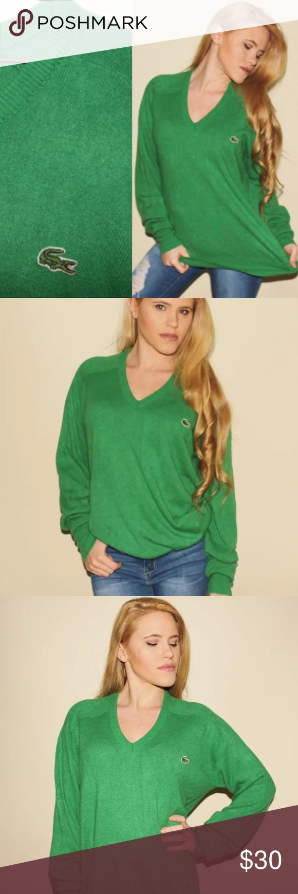 """70s Green Lacoste Sweater Preppy Slouchy Large  DESCRIPTION   ~ Green Izod Lacoste Sweater from the 1970's  ~ 100% Orlon Acrylic Material  ~ V Neck  ~ Crocodile on chest  ~ Pullover  ~ Oversized Fit  ~ Brand: Izod Lacoste  ~ Great Condition     MEASUREMENTS   ~ Best Fits: Women's Size Large/ Men's Size Medium-Large  ~ Size on Tag: Large  ~ Shoulder to Shoulder: 20""""  ~ Sleeve Length: 27""""  ~ Armpit to Armpit (Bust): 43""""  ~ Waist: 39""""  ~ Length from Top of Shoulder to Hem: 26.5"""" Lacoste…"""