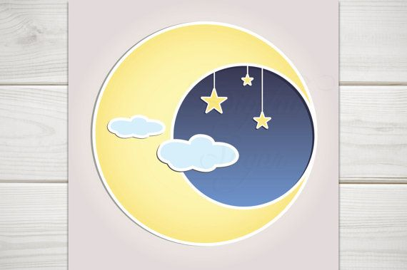 Sun Moon Stars Clip Art Vector Baby Shower Invitation