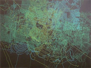 I mapped out a route over familiar country near home by  Sue Beyer | acrylic and posca pen on canvas 2011 www.suebeyer.com.au  #maps #drawing #art