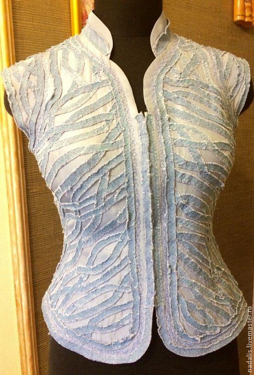 Купить жилет джинсовый - бледно-сиреневый, жилет, Жилет женский, джинсовый стиль, летний жилет
