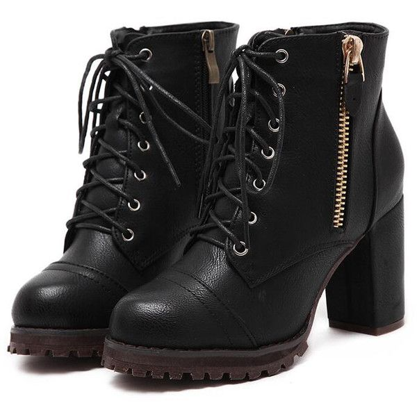 Black Lace Up Side Zipper Chunky Heels Ankle Boots (£40) ❤ liked on Polyvore featuring shoes, boots, ankle booties, short black boots, ankle boots, lace up boots, chunky heel booties and black bootie