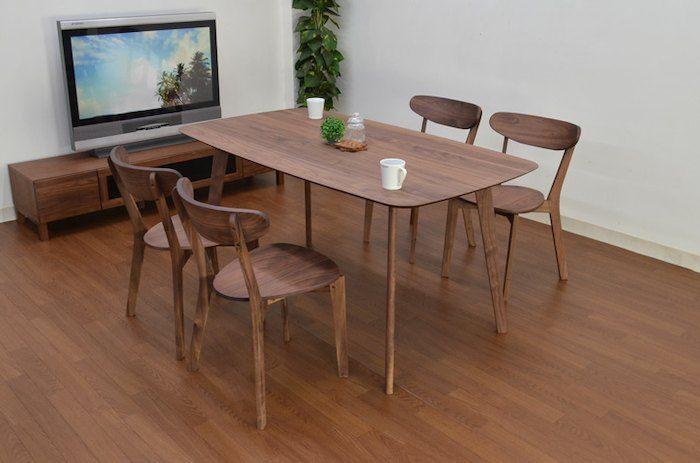 ダイニングセット5点セット150cmウォールナットダイニングテーブルセット北欧4人掛け4人用モダンおすすめクッション木製リビングテーブルgaret-351