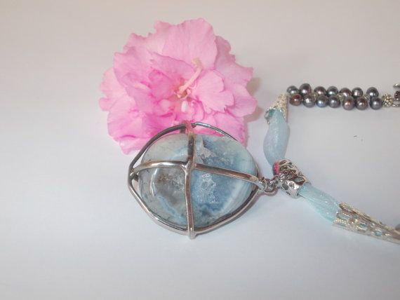 Necklace Chalcedony Necklace Blue Chalcedon Black by Monpasier