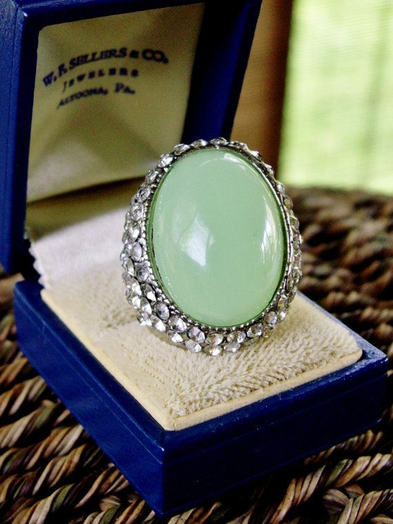 Massive Springtime Green Dome Ring with by dazzledbyvintage, $16.50