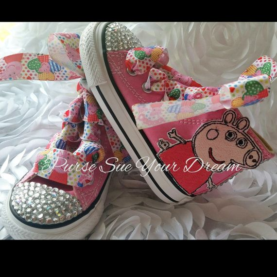 Peppa Pig Themed Converse Shoes Pegga Pig by PurseSueYourDream peppa pig, peppa pig birthday, peppa pig party, rhinestone shoes, rhinestone converse, custom converse, swarovski crystal, swarovski shoes, bling shoes, nickjr theme, disney, disneyland