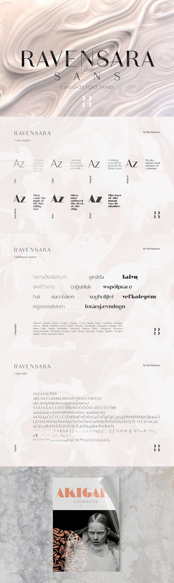 Ravensara Sans - Ravensara is a contemporary, high contrast, sans-serif font family that contains 7 weight ...