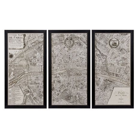Wall Art Paris 1715 58x108cm Set of 3   picture noy so much the frames