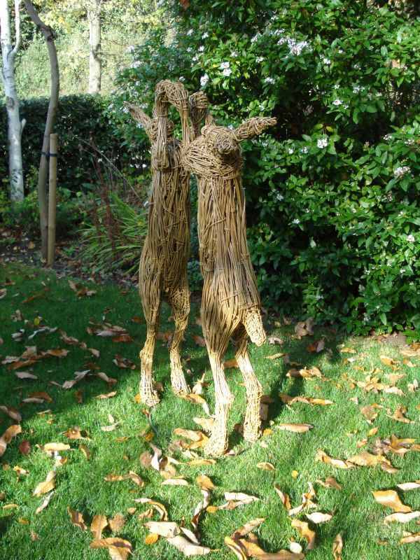 #Willow #sculpture by #sculptor Emma Walker titled: 'Boxing Hares (Woven Willow Mad March Boxing Hares sculptures statues)'. #EmmaWalker
