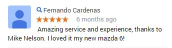 That's great to hear, Fernando! #CustomerService #MazdaElCajon