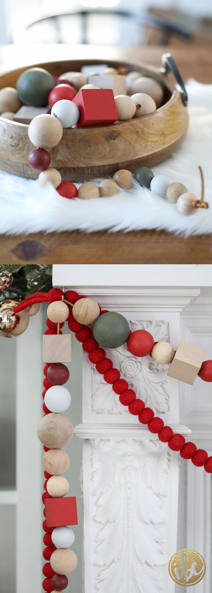 colorful wood bead garland diy christmas holiday decor inspired by charm - Christmas Beaded Garland Decorations