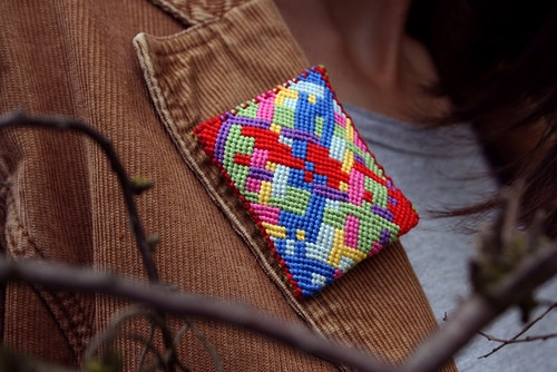 Brooch Inga by Zauzleno, textile jewellery