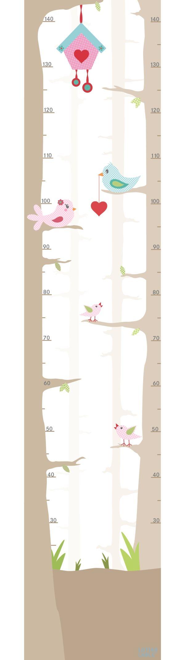 Lottas Lable Wandaufkleber-Messlatte 'Vogelhochzeit' 30x145cm bei Fantasyroom online kaufen