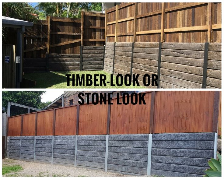 Pioneer timberlook & stone look concrete sleeper retaining walls. For more info visit aussieconcreteproducts.com.au