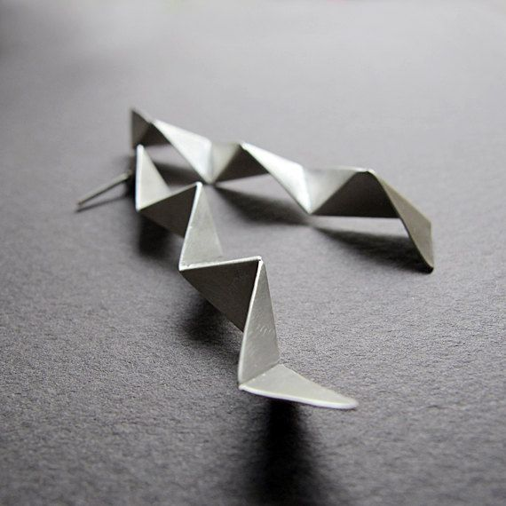 Silver Geometric Earrings  3d silver earrings  by Jewellietta, €55.00
