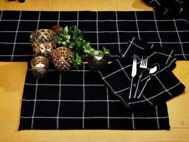Black Placemats Cotton Burlap Olivias Heartland IHF Windowpane Check Set of 4 #OliviasHeartland