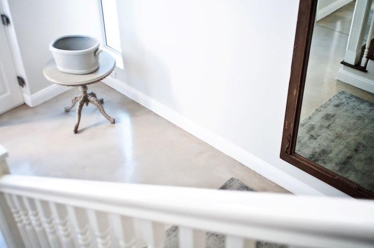 Earthcote pigmented floorcote - colour bleached rope #PaintSmiths #homedecor #floorcote #earthcote #interior #paint #stairs #homeentrance