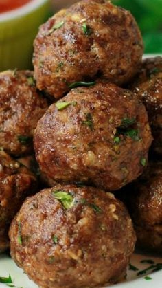 Italian Herb Baked Meatballs ~ Loaded with fresh herbs and cheese... They are bursting with flavor. Simple recipe, magnificent meatballs!