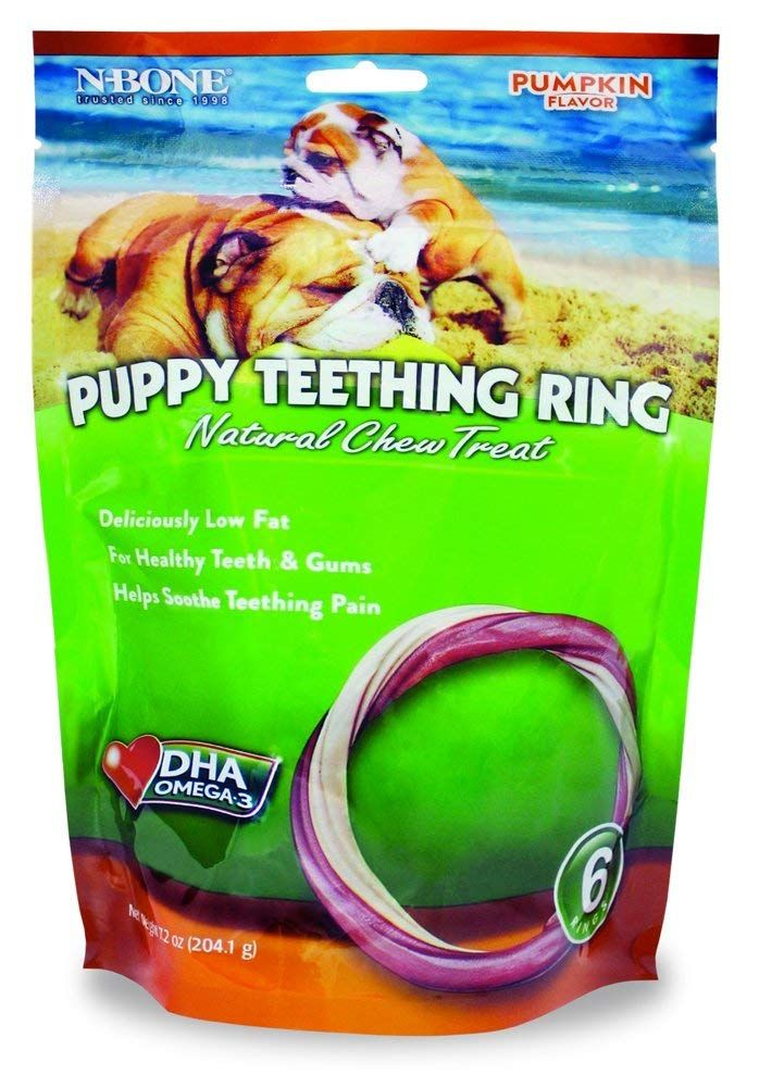 N Bone 6 Pack Puppy Teething Ring Pumpkin Flavor Want
