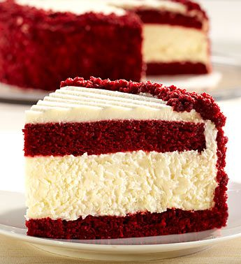 Red Velvet + Cheesecake in one? Looks deicious! Christmassy :): Desserts, Red Velvet Cake, Recipe, Food, Red Velvet Cheesecake, Yummy, Baking, Redvelvet, Sweets Tooth